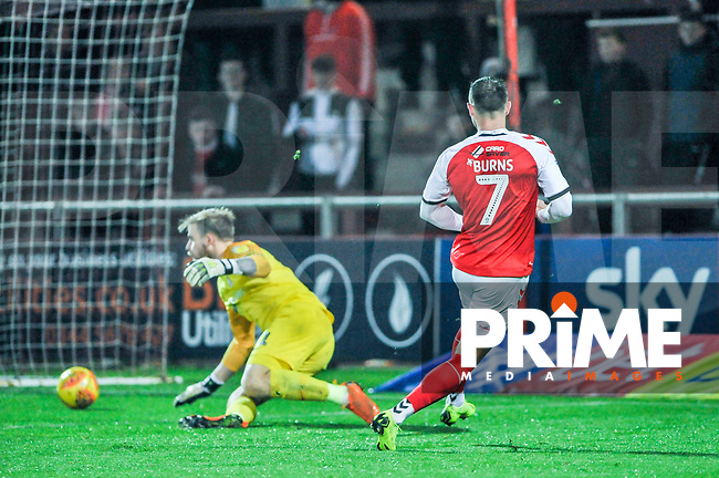 Fleetwood Town's forward Wes Burns (7) wheels away to celebrate during the Sky Bet League 1 match between Fleetwood Town and Coventry City at Highbury Stadium, Fleetwood, England on 27 November 2018. Photo by Stephen Buckley / PRiME Media Images.