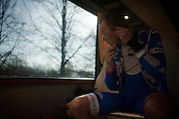 James Vanlandschoot (BEL/Wanty-Groupe Gobert) fitting his earpiece in the teambus before the start<br /> <br /> 113th Paris-Roubaix 2015