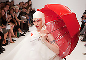© Licensed to London News Pictures. 19/09/2011. London, UK. Fashion designer Ziad Ghanem's dramatic catwalk show with Spring/Summer 2012 outfits hit Vauxhall Fashion Scout during London Fashion Week. Photo credit: Bettina Strenske/LNP