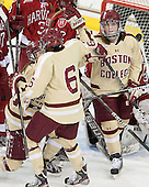 Haley Skarupa (BC - 22), Kaliya Johnson (BC - 6), Emily Field (BC - 15) - The Boston College Eagles defeated the visiting Harvard University Crimson 3-1 in their NCAA quarterfinal matchup on Saturday, March 16, 2013, at Kelley Rink in Conte Forum in Chestnut Hill, Massachusetts.