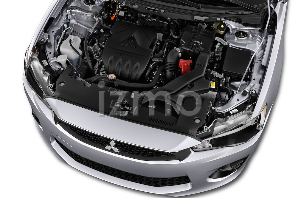 Car Stock 2016 Mitsubishi Lancer Intense 4 Door Sedan Engine  high angle detail view