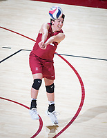 STANFORD, CA - March 14, 2019: Justin Lui at Maples Pavilion. The #8 Stanford Cardinal fell to the #6 Pepperdine Waves 3-0.