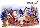 Fabrizio, Comics, CHRISTMAS SANTA, SNOWMAN, paintings, ITFZ18,#x# Weihnachten, Navidad, illustrations, pinturas