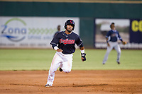 AZL Indians designated hitter Erlin Cerda (11) hustles towards third base against the AZL Padres on August 30, 2017 at Goodyear Ball Park in Goodyear, Arizona. AZL Padres defeated the AZL Indians 7-6. (Zachary Lucy/Four Seam Images)