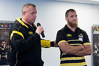 Lions coach Chris Gibbes (L) speaks with captain Brad Shields during the Wellington Lions season launch at 89 Courtenay Place in Wellington, New Zealand on Friday, 11 August 2017. Photo: Marty Melville / lintottphoto.co.nz