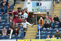 Aston Villa Tammy Abraham and Blackburn Rovers' Ryan Nyambe<br /> <br /> Photographer Rachel Holborn/CameraSport<br /> <br /> The EFL Sky Bet Championship - Blackburn Rovers v Aston Villa - Saturday 15th September 2018 - Ewood Park - Blackburn<br /> <br /> World Copyright &copy; 2018 CameraSport. All rights reserved. 43 Linden Ave. Countesthorpe. Leicester. England. LE8 5PG - Tel: +44 (0) 116 277 4147 - admin@camerasport.com - www.camerasport.com