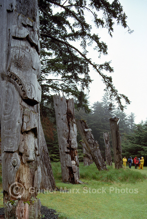 Ninstints (UNESCO World Heritage Site), Haida Gwaii (Queen Charlotte Islands), Northern BC, British Columbia, Canada - Eco Tourism Trip, Ecotourists visit Historic Mortuary Totem Poles on Anthony Island (Skung Gwaii), Gwaii Haanas National Park Reserve and Haida Heritage Site