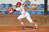 Johnson City Cardinals shortstop Tyler Rahmatulla #18 swings at a pitch during a game against the Greeneville Astros at Howard Johnson Field on July 13, 2011 in Johnson City, Tennessee.  Greeneville won the game 7-4.   (Tony Farlow/Four Seam Images)