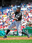 20 June 2010: Chicago White Sox' outfielder Juan Pierre at bat against the Washington Nationals at Nationals Park in Washington, DC. The White Sox swept the Nationals winning 6-3 in the last game of their 3-game interleague series. Mandatory Credit: Ed Wolfstein Photo