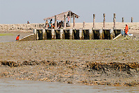 BANGLADESH, Khulna, coast protection from floods and cyclones, flood protection gate and dyke