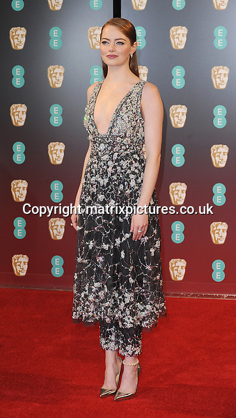 NON EXCLUSIVE PICTURE: PAUL TREADWAY / MATRIXPICTURES.CO.UK<br /> PLEASE CREDIT ALL USES<br /> <br /> WORLD RIGHTS<br /> <br /> American actress Emma Stone attends the 70th EE British Academy Film Awards (BAFTA) at Royal Albert Hall in London<br /> <br /> FEBRUARY 12th 2017<br /> <br /> REF: PTY 17303