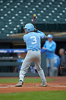 Kyle Datres (3) of the North Carolina Tar Heels at bat against the Boston College Eagles in Game Five of the 2017 ACC Baseball Championship at Louisville Slugger Field on May 25, 2017 in Louisville, Kentucky. The Tar Heels defeated the Eagles 10-0 in a game called after 7 innings by the Mercy Rule. (Brian Westerholt/Four Seam Images)