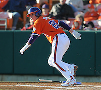 Outfielder Kyle Parker (25) hits during a game between the Charlotte 49ers and Clemson Tigers Feb. 20, 2009, at Doug Kingsmore Stadium in Clemson, S.C. (Photo by: Tom Priddy/Four Seam Images)