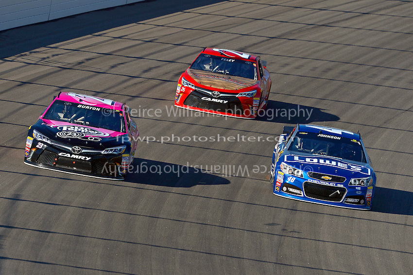 Jimmie Johnson (#48),  Burton (#23) and Yeley (#26)
