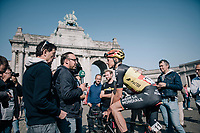 Belgian champion Oliver Naesen (BEL/AG2R-LaMondiale) interviewed at the start<br /> <br /> 97th Brussels Cycling Classic (1.HC)<br /> 1 Day Race: Brussels &gt; Brussels (201km)