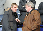 England U21 manager Stuart Pearce reacts to a comment by Wigan manager Steve Bruce during the Premier League match at the Reebok Stadium, Bolton. Picture date 12th April 2008. Picture credit should read: Simon Bellis/Sportimage