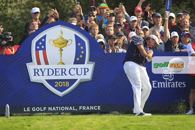 Phil Mickelson (Team USA) on the 5th tee during the Friday Foursomes at the Ryder Cup, Le Golf National, Ile-de-France, France. 28/09/2018.<br /> Picture Thos Caffrey / Golffile.ie<br /> <br /> All photo usage must carry mandatory copyright credit (© Golffile | Thos Caffrey)