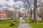 The town center in in Woodstock, VT, USA