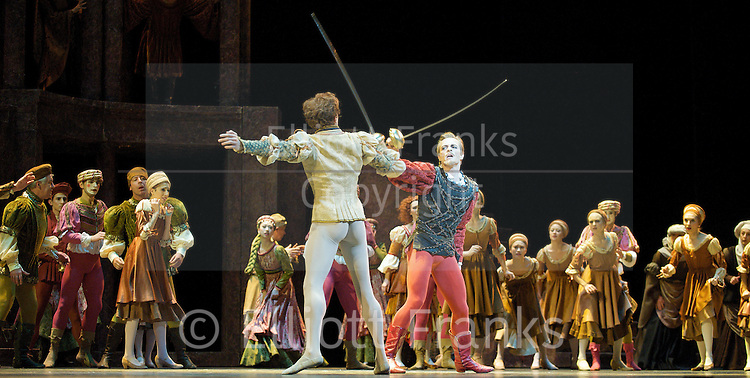 Romeo &amp; Juliet<br /> The Royal Ballet<br /> at the O2 Arena, Greenwich, London, Great Britain<br /> rehearsal<br /> 16th June 2011<br /> Choreography by Kenneth MacMillan<br /> Thomas Whitehead (as Tybalt)<br /> Edward Watson (as Romeo)<br /> Photograph by Elliott Franks