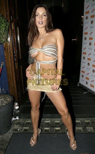 CORALEE.Big Brother 5 Reunion Party & Emma Greenwood's singing debut, Cafe de Paris, London, 31st August 2004..full length cora lee scarf top revealing boobs cleavage short skirt skimpy.Ref: AH.www.capitalpictures.com.sales@capitalpictures.com.©Capital Pictures.