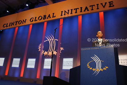 New York, NY - September 22, 2009 -- United States President Barack Obama speaks at the Clinton Global Initiative at the Sheraton Hotel in New York City on Tuesday, September 22, 2009..Credit: John Angelillo / Pool via CNP