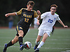 Will Greco #12 of St. Anthony's, left, moves a ball upfield under pressure from Denis Sullivan #20 of Kellenberg during a Nassau-Suffolk CHSAA varsity boys soccer game at Kellenberg High School on Thursday, Sept. 21, 2017. St. Anthony's won by a score of 1-0.