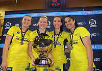 The Pulse celebrate winning the 2019 ANZ Premiership netball final match between the Central Pulse and Northern Stars at Te Rauparaha Arena in Wellington, New Zealand on Monday, 3 June 2019. Photo: Dave Lintott / lintottphoto.co.nz