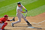 17 June 2012: New York Yankees first baseman Mark Teixeira connects for a double in the 9th inning against the Washington Nationals at Nationals Park in Washington, DC. The Yankees defeated the Nationals 4-1 to sweep their 3-game series. Mandatory Credit: Ed Wolfstein Photo