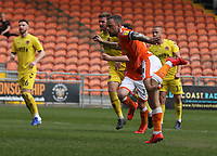 Blackpool's Jay Spearing scores the opening goal from the penalty spot<br /> <br /> Photographer Stephen White/CameraSport<br /> <br /> The EFL Sky Bet League One - Blackpool v Fleetwood Town - Monday 22nd April 2019 - Bloomfield Road - Blackpool<br /> <br /> World Copyright © 2019 CameraSport. All rights reserved. 43 Linden Ave. Countesthorpe. Leicester. England. LE8 5PG - Tel: +44 (0) 116 277 4147 - admin@camerasport.com - www.camerasport.com