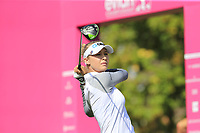 Nelly Korda (USA) tees off the 1st tee during Thursday's Round 1 of The Evian Championship 2018, held at the Evian Resort Golf Club, Evian-les-Bains, France. 13th September 2018.<br /> Picture: Eoin Clarke | Golffile<br /> <br /> <br /> All photos usage must carry mandatory copyright credit (&copy; Golffile | Eoin Clarke)