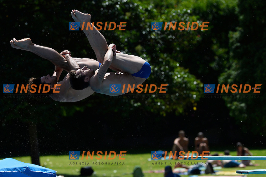 Tommaso Rinaldi, Michele Benedetti Italia <br /> Bolzano 30/6/2013 Piscina Lido<br /> 19th Fina Diving Grand Prix <br /> Trampolino 3m Uomini Sincro - diving Synchro Springboard 3m Men <br /> Tuffi <br /> Foto Andrea Staccioli Insidefoto
