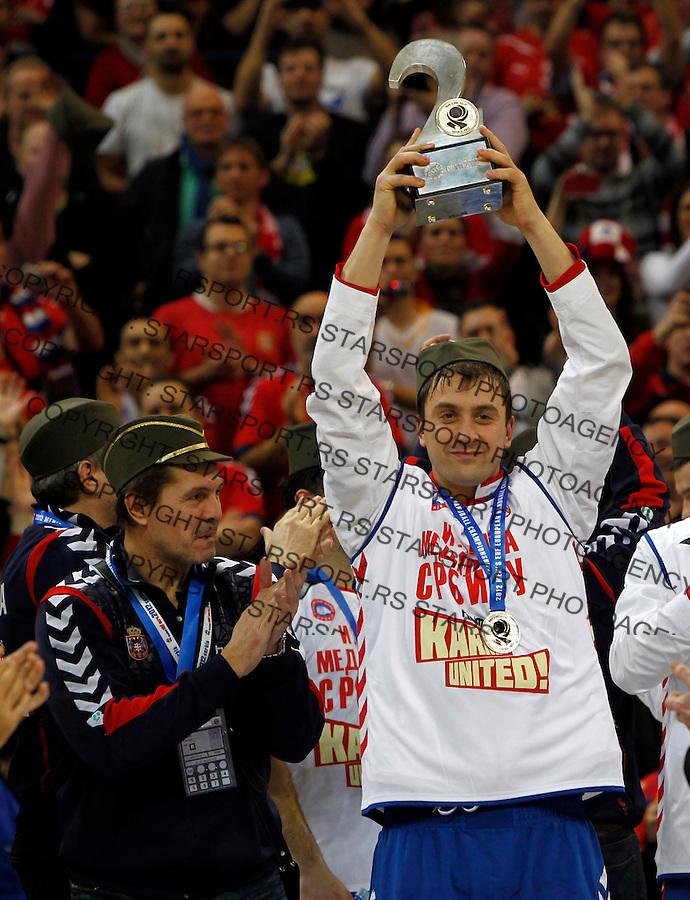 Second placed Serbian national handball team players Momir Ilic and coach Veselin Vukovic after men`s EHF EURO 2012 handball championship  in Belgrade, Serbia, Sunday, January 29, 2011.  (photo: Pedja Milosavljevic / thepedja@gmail.com / +381641260959)