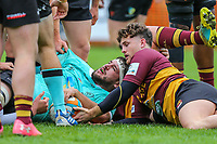 Nottingham try during the Greene King IPA Championship match between Ampthill RUFC and Nottingham Rugby on Ampthill Rugby's Championship Debut at Dillingham Park, Woburn St, Ampthill, Bedford MK45 2HX, United Kingdom on 12 October 2019. Photo by David Horn.