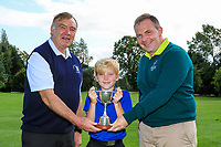 Martin Hynes (Connacht Golf) and Joe Burke (Captain Mountbellew GC) presents the Cup to Isaac Oliver (Ballinasloe) winner of the U12's Final during the Connacht U12, U14, U16, U18 Close Finals 2019 in Mountbellew Golf Club, Mountbellew, Co. Galway on Monday 12th August 2019.<br /> <br /> Picture:  Thos Caffrey / www.golffile.ie<br /> <br /> All photos usage must carry mandatory copyright credit (© Golffile | Thos Caffrey)