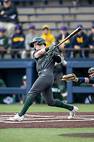 Michigan State Spartans shortstop Marty Bechina (2) follows through on his swing in the NCAA baseball game against the Michigan Wolverines on May 7, 2019 at Ray Fisher Stadium in Ann Arbor, Michigan. Michigan defeated Michigan State 7-0. (Andrew Woolley/Four Seam Images)