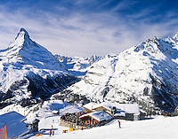 Switzerland, Valais, Zermatt, Ski hut Sunnegga and Matterhorn Mountain (4.478 m)