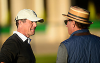 Andy Garcia (R) chats with with Hugh Grant during Round 1 of the 2015 Alfred Dunhill Links Championship at the Old Course, St Andrews, in Fife, Scotland on 1/10/15.<br /> Picture: Richard Martin-Roberts | Golffile