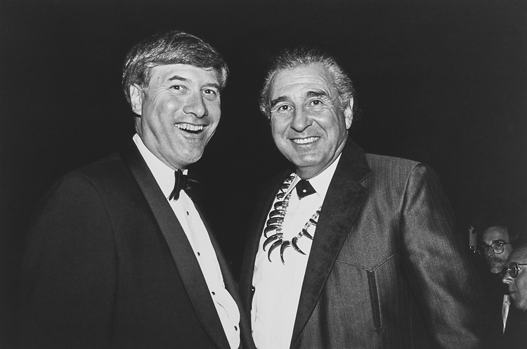 "Tony Smith (Alaska) ""Senator wannabee"", and Sen. Ben Nighthorse Campbell, D-Colo., at the Democratic Senatorial Campaign Committee Dinner, Sep. 23, 1992. (Photo by Maureen Keating/CQ Roll Call via Getty Images)"