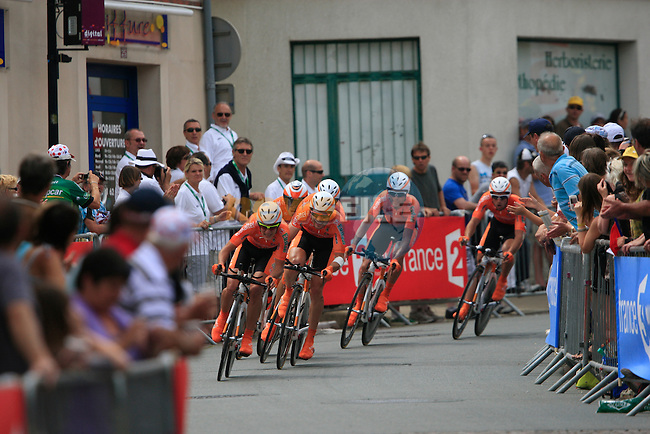 Euskaltel-Euskadi team riders near the finish of the 2nd Stage of the 2011 Tour de France the Team Time Trial, 23k from Les Essarts to Les Essarts, 3rd July 2011 (Photo by Eoin Clarke/NEWSFILE)