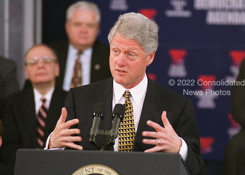 """Washington, DC - February 10, 2000 -- U.S. President Bill Clinton speaks in the Great Hall of the Library of Congress on the Democrat's """"Families First"""" agenda on 10 February, 2000.<br /> Credit: Ron Sachs / CNP"""