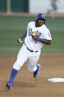 Yasiel Puig #8 of the Rancho Cucamonga Quakes runs the bases against the San Jose Giants at The Epicenter on August 27, 2012 in Rancho Cucamonga, California. Rancho Cucamonga defeated San Jose 4-3. (Larry Goren/Four Seam Images)