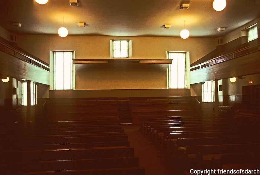 Philadelphia: Interior of Arch Street Friends Meeting House, 1803-05, 1810-1811. Owen Biddle, carpenter. Photo '88.