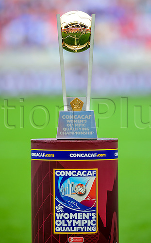 21.02.2016. Houston, TX, USA. The CONCACAF Women's Olympic Qualifying Championship trophy during the Women's Olympic qualifying soccer final between Canada and USA at BBVA Compass Stadium in Houston, Texas.