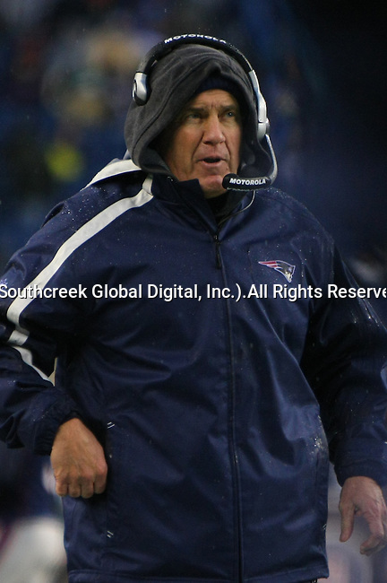 13December2009: New England head coach Bill Belichick calls a play.  The New England Patriots defeated the Carolina Panthers 20-10 at Gillette Stadium in Foxborough, Massachusetts.
