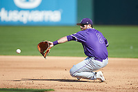 Furman Paladins first baseman John Michael Boswell (8) back-hands a ground ball against the Wake Forest Demon Deacons at BB&T BallPark on March 2, 2019 in Charlotte, North Carolina. The Demon Deacons defeated the Paladins 13-7. (Brian Westerholt/Four Seam Images)