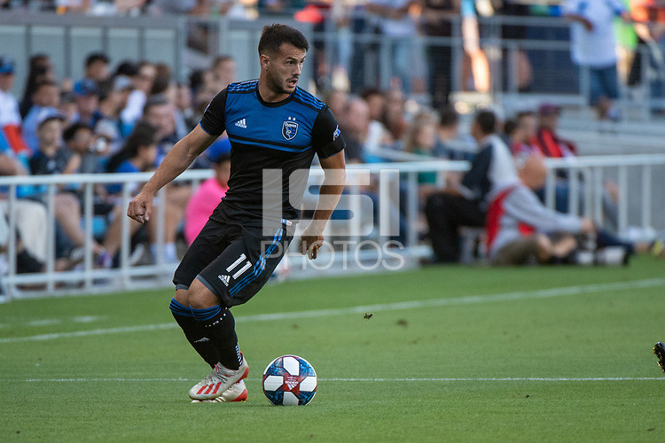 San Jose, CA - Saturday August 03, 2019: Vako Qazaishvili #11 in a Major League Soccer (MLS) match between the San Jose Earthquakes and the Columbus Crew at Avaya Stadium.