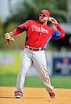9 March 2012: Philadelphia Phillies outfielder Laynce Nix warms up prior to a Spring Training game against the Detroit Tigers at Joker Marchant Stadium in Lakeland, Florida. The Phillies defeated the Tigers 7-5 in Grapefruit League action. Mandatory Credit: Ed Wolfstein Photo
