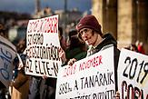 Demonstration gegen die finanzielle Sanktionierung wissenschaftliche Einrichtungen in Ungarn. Demonstration against the financial sanctioning of  scientific institutions in Hungary, Csaba Pléh - psichologyst, former vice president of the Academy