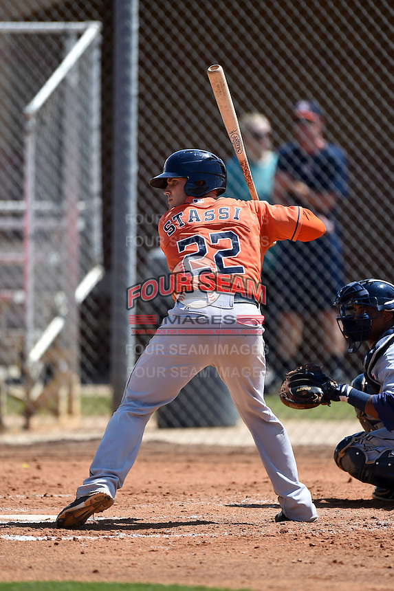 Houston Astros catcher Max Stassi (22) during a minor league spring training game against the Detroit Tigers on March 21, 2014 at Osceola County Complex in Kissimmee, Florida.  (Mike Janes/Four Seam Images)