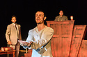 "Edinburgh, UK. 31.07.2017. Parallax Theatre pesents ""The Last Days of Judas Iscariot"", in the Pleasance Beyond, as part of Edinburgh Festival Fringe. Picture shows: Stuart Walker (Judas Iscariot), Moses Latif (Yusef El-Fayoumy), Clifford Hume (Judge Littlefield). Photograph © Jane Hobson."